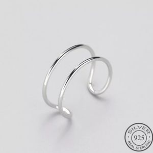 925 Sterling Minimalist Geometric Double Line Ring